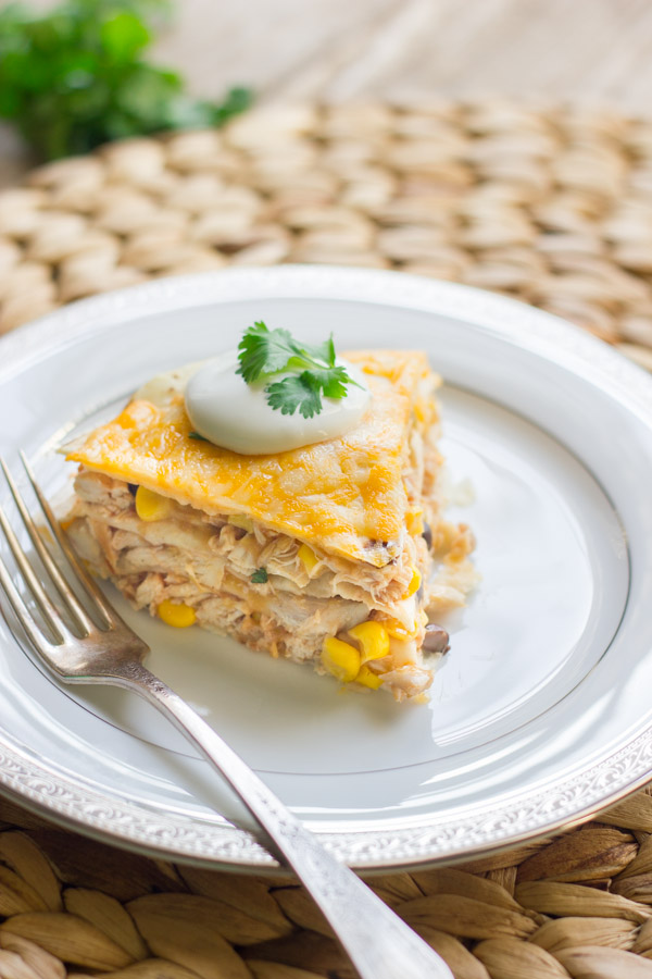 Layers of chicken, black beans, corn, cheese, and tortillas - quick and easy!