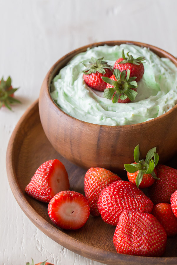 Creamy Pistachio Fruit Dip - so good and easy too! Only three simple ingredients.