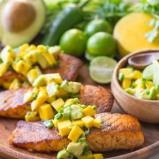 Chili Lime Salmon With Mango Avocado Salsa - This salmon is fresh, light, and simple to make!