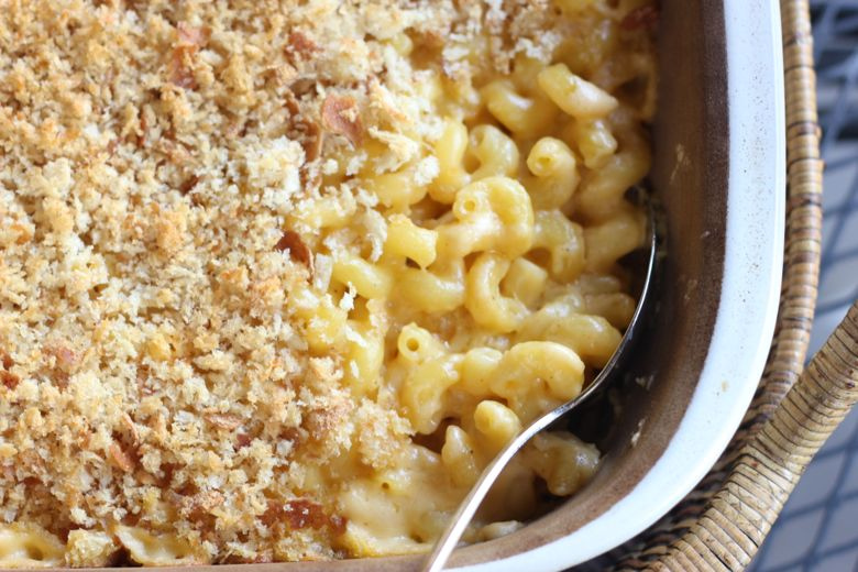 Mac and Cheese with real breadcrumbs in a casserole dish.