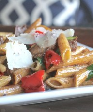 Balsamic Butter Penne With Roasted Red Peppers