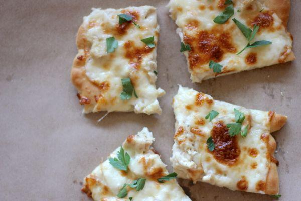 Garlic Chicken Pizza slices.