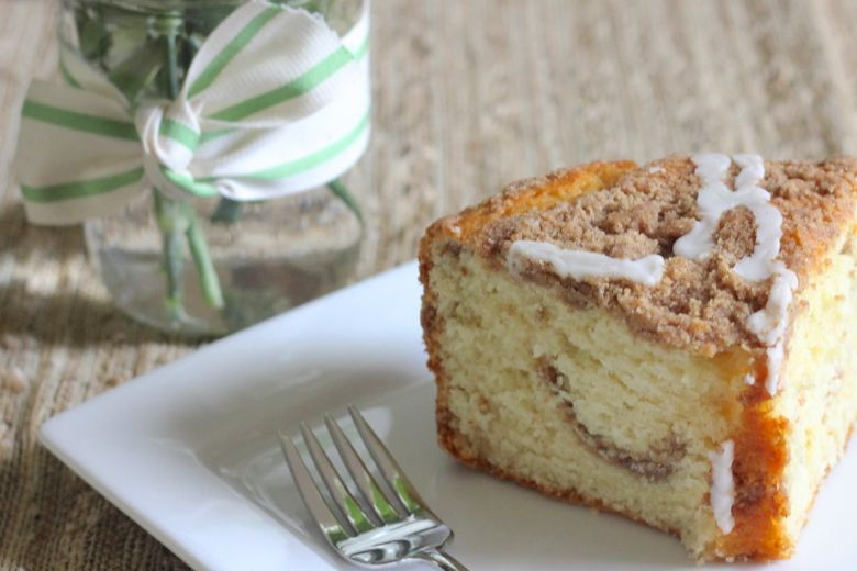 Greek Yogurt Coffee Cake slice on a plate.