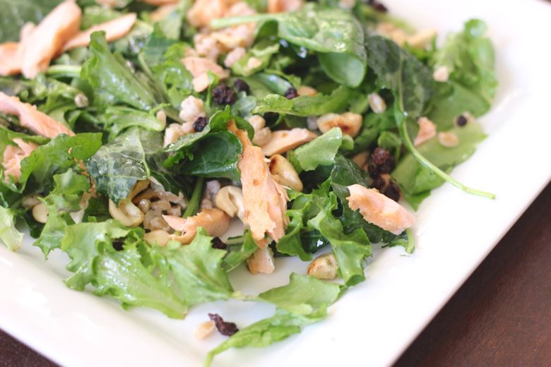Farro with Cashews and Currants mixed with a Kale and Salmon Salad.