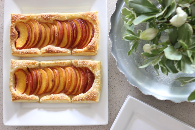 Peach Tarts on a platter.