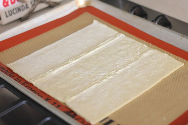Puff Pastry on a Silpat lined baking sheet.