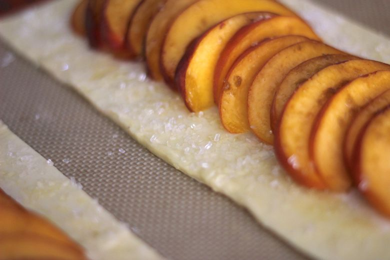 Sparkling sugar on edges of puff pastry.