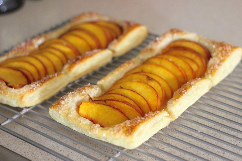 Peach Tarts on cooling rack.