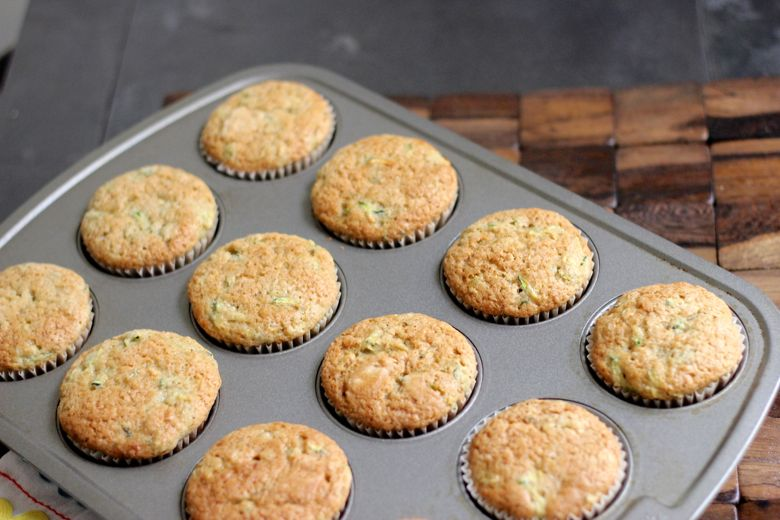 Zucchini Almond Cupcakes baked in muffin tin.