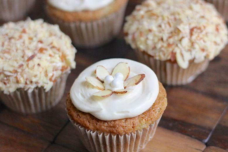 Zucchini Almond Cupcakes decorated.