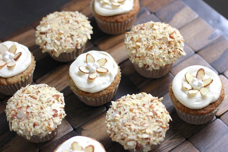 Zucchini Almond Cupcakes decorated.