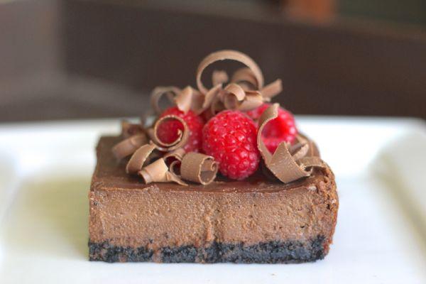 Chocolate Cheesecake with Raspberries.