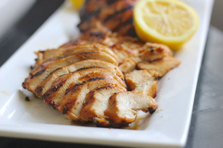 Grilled chicken sliced on a plate.