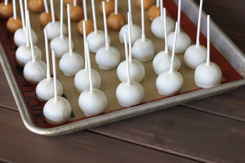 Pumpkin pie balls with lollipop sticks in them, dipped in white chocolate on a baking sheet.