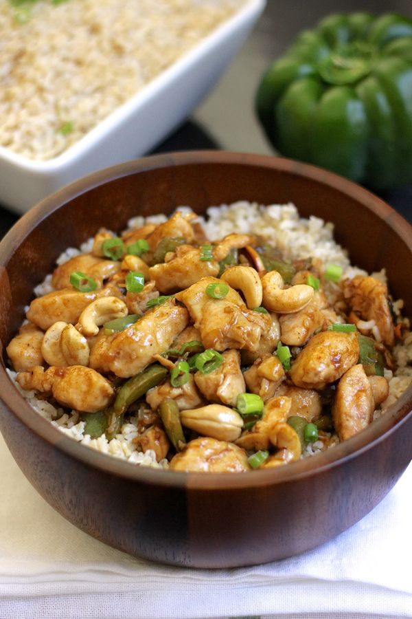 Healthy Cashew Chicken With Brown Rice - healthier version of the classic Chinese take out with juicy white meat chicken, green peppers, onions, cashews and brown rice