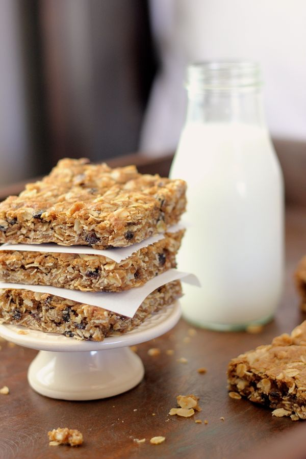 Brown Butter Oatmeal Currant Cookie Bars in a stack of three.