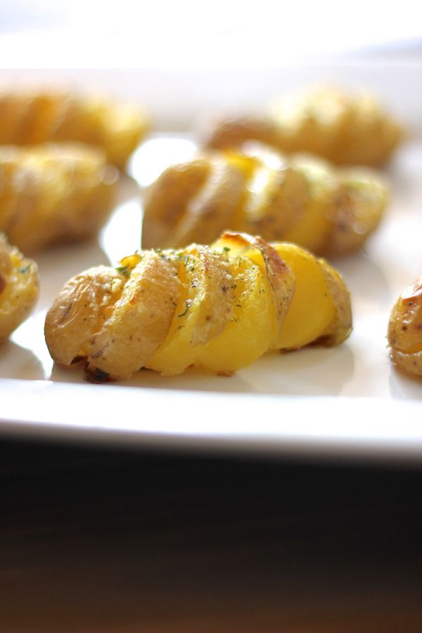 Parmesan Roasted Petite Yukon Gold Potatoes on a serving plate.