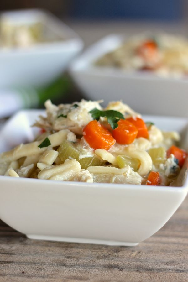 Easy Chicken and Noodles in a bowl.