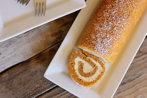 Pumpkin Roll With Maple Cream Cheese Filling