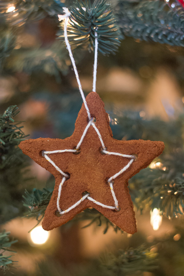 Star with twine ornament made with the Cinnamon Applesauce Dough.