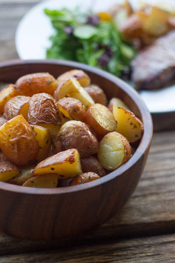 Roasted Red Potatoes in a serving bowl.