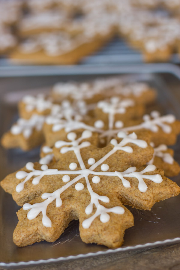 Iced Graham Cracker Snowflakes on a serving platter.