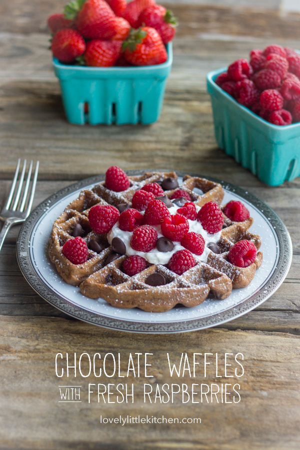 Chocolate Waffles With Fresh Raspberries, topped also with whipped cream and chocolate chips, on a plate with a fork next to it and cartons of fresh berries in the background.
