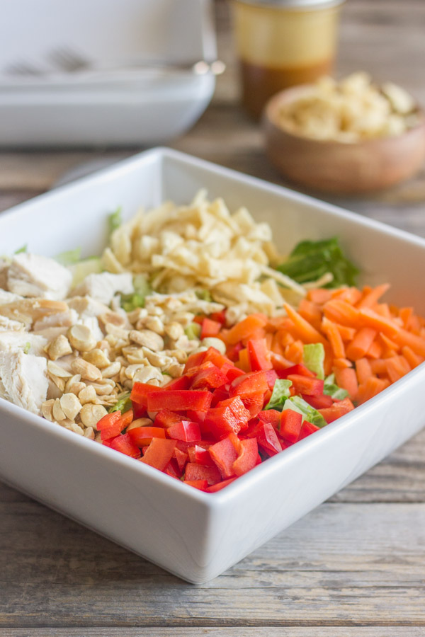 Chopped Chinese Chicken Salad ingredients in a large bowl.