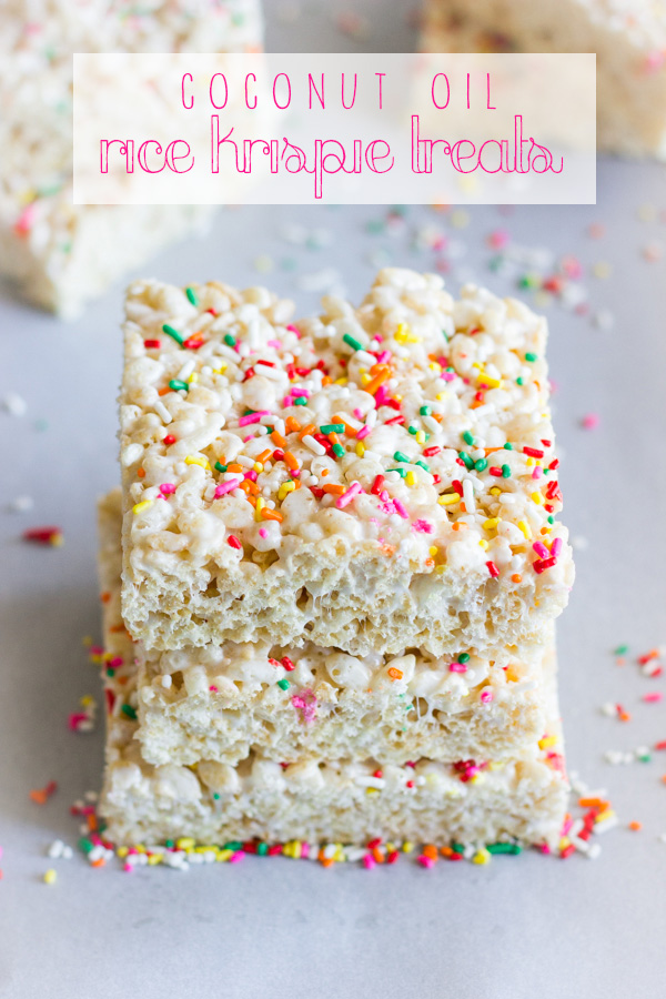 Coconut Oil Rice Krispie Treat squares with sprinkles stacked in a pile of three.