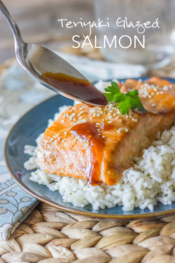 A quick and easy recipe for salmon baked with a sticky sweet teriyaki glaze.