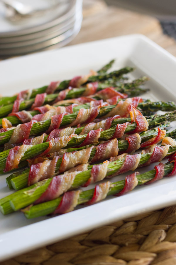 Bacon Wrapped Asparagus on a serving plate.
