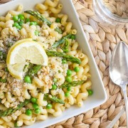 Buttery cream sauce, asparagus, peas, pine nuts, fresh lemon juice and homemade breadcrumbs.