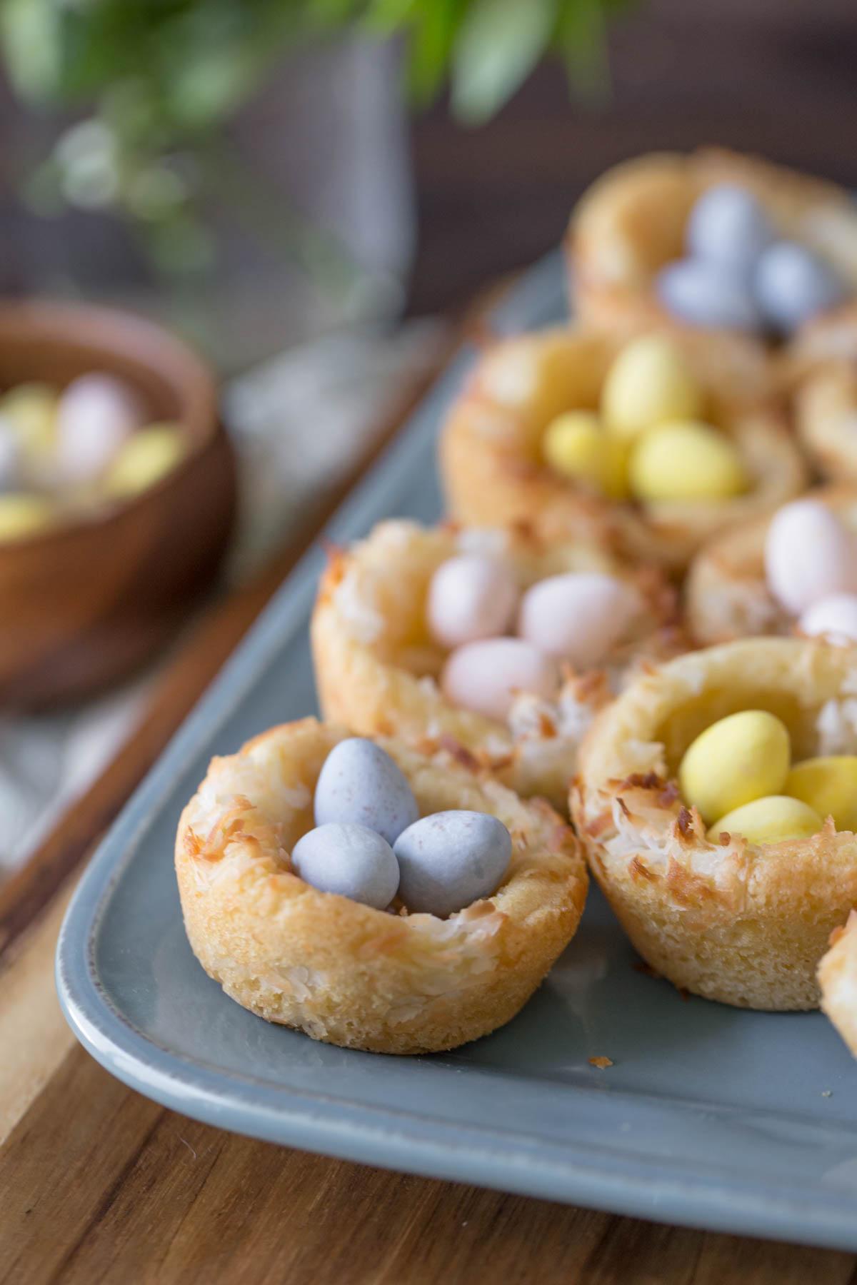 Sugar Cookie Easter Egg Nests on a serving platter.