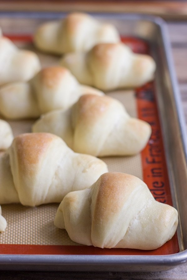 The Best Butterhorn Rolls on a Silpat lined baking sheet.