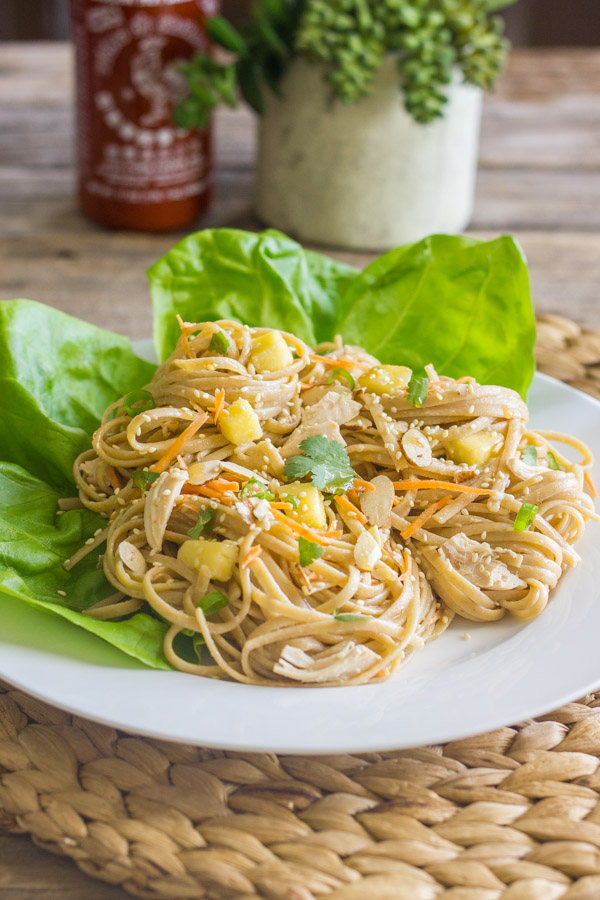 Asian Chicken And Sesame Noodle Salad on a plate with butter lettuce leaves.