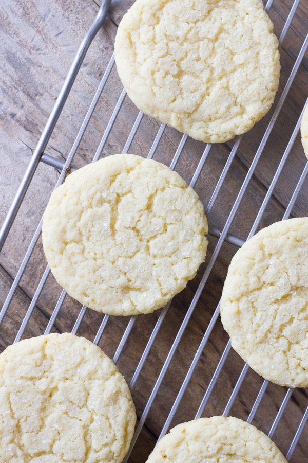 Bakery Style Sugar Cookies on a cooling rack.