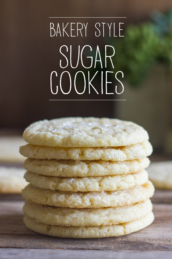 Bakery Style Sugar Cookies in a stack of seven.