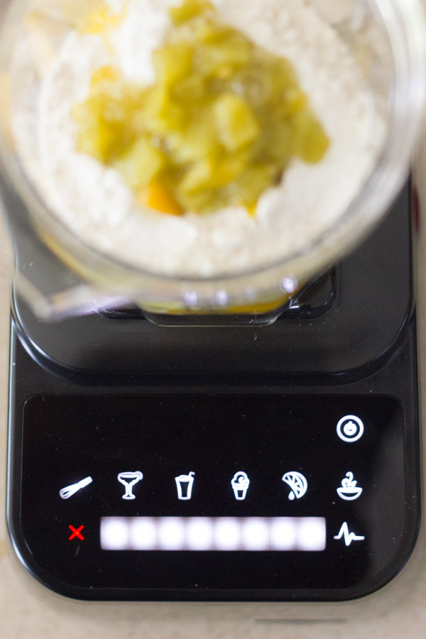 Eggs, Greek yogurt, flour, baking powder, salt, and green chiles in a Blendtec blender.