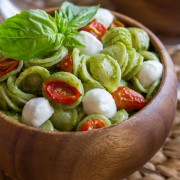 The classic Caprese salad flavor combination of tomato, basil, and mozzarella.