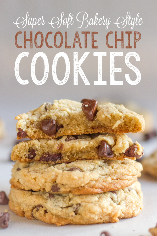 Two Super Soft Bakery Style Chocolate Chip Cookie halves stacked on top of two whole cookies.