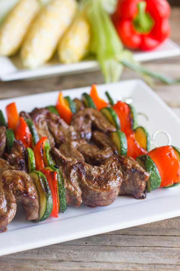 Grilled Flank Steak Kebabs on a serving platter.