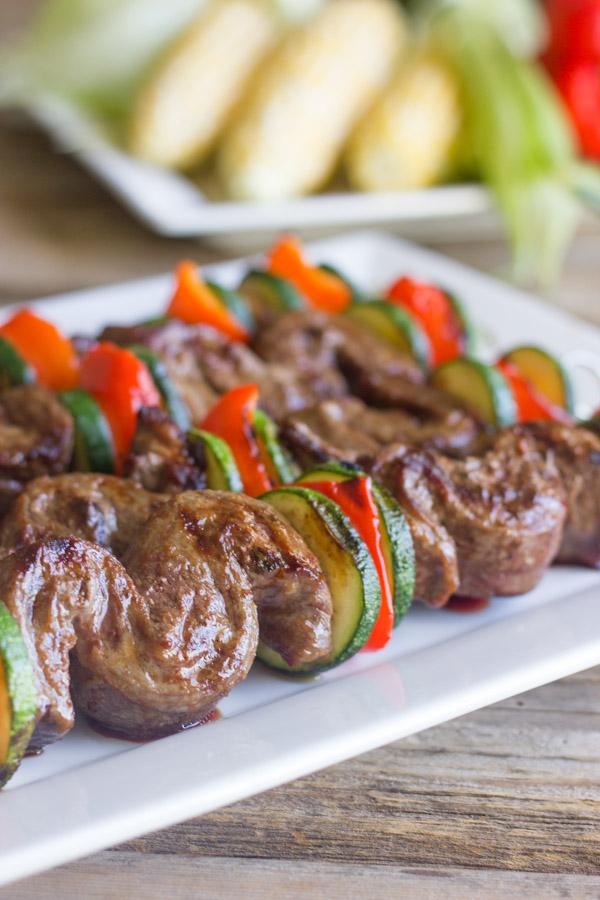 Grilled Flank Steak Kebabs on a serving platter.