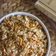 Pretzel Granola Made With Coconut Oil - sweet and salty nut-free granola that you can make in 15 minutes.