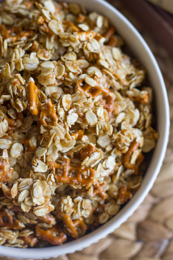 Pretzel Granola Made With Coconut Oil in a bowl.