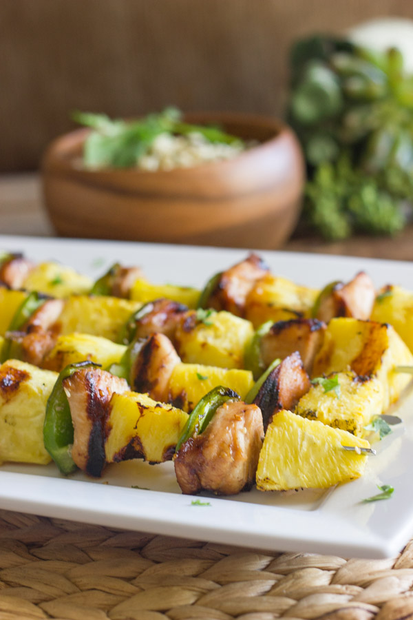 Grilled Teriyaki Chicken and Pineapple Kebabs on a serving platter.