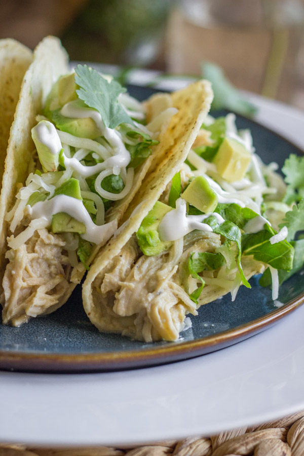 Easy Creamy Crockpot Salsa Verde Chicken in crunchy taco shells with shredded lettuce, diced avocado, sour cream and cilantro, on a plate.