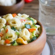 Vegetable Tortellini With Creamy Garlic Sauce - Fresh cheese tortellini meets roasted summer vegetables!