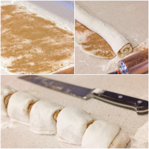 A step by step picture of how to make the Overnight Cinnamon Rolls.