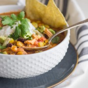 Crockpot Chicken Tortilla Soup - easy, healthy, and a little spicy too. You'll love how fast it comes together!