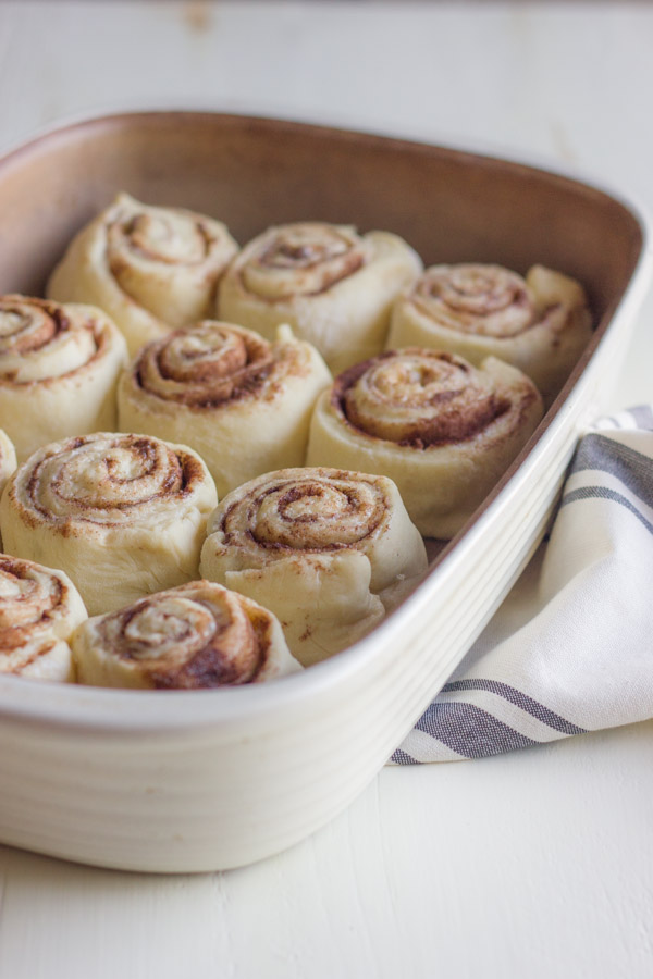 Overnight Cinnamon Roll dough in a baking dish.